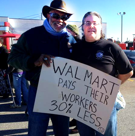 With Neil of IATSE at the Workers Action on Walmart