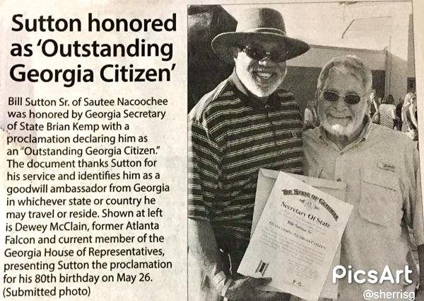 Bill Sutton Sr Outstanding Citizen